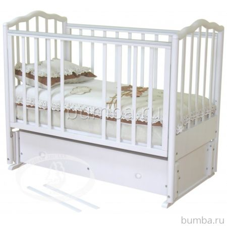 Кроватка детская Можга Ангелина (продольный маятник) (белый)