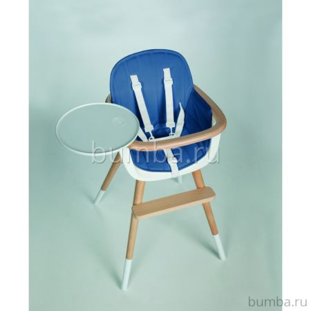 Стульчик Micuna OVO T-1533 белый, текстиль синий