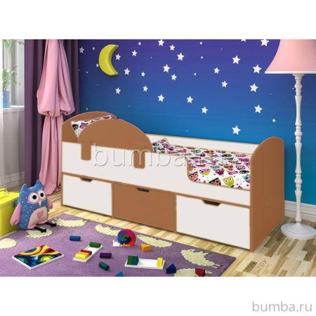 Кровать детская Ярофф Малыш Мини (вишня оксфорд/белое дерево)