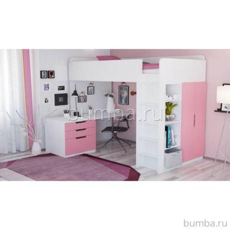Кровать-чердак Polini Simple с письменным столом и шкафом (Белый-Роза)
