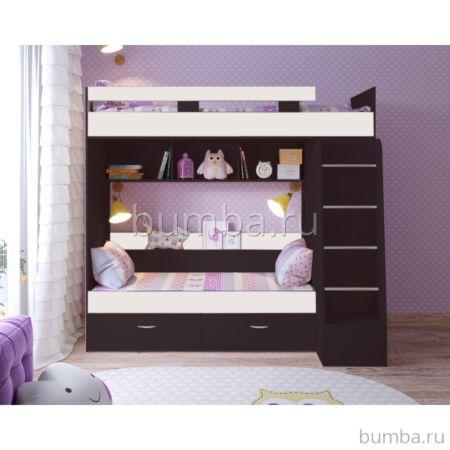 Кровать двухъярусная Ярофф Юниор-6 (венге темный/белое дерево)