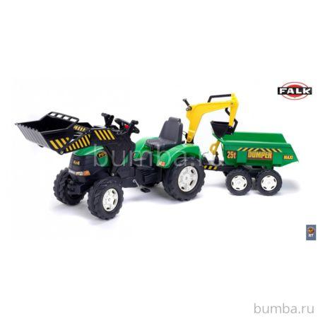 Трактор-экскаватор Falk педальный с прицепом (зеленый)