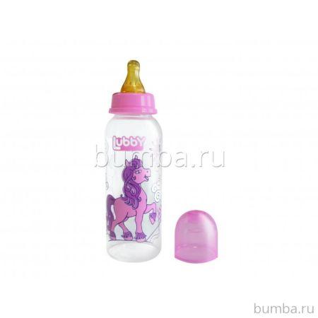 Бутылочка Lubby с соской Весёлые животные 250 мл (Розовый)