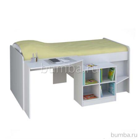 Кровать-чердак Polini Simple 4000 со столом и полками (белый)