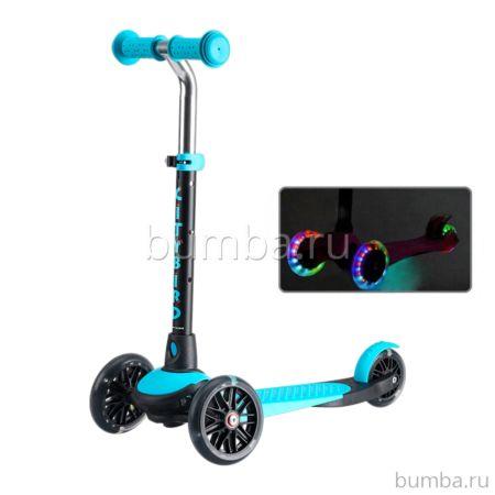 Самокат TechTeam City Bird 2018 со светящимися колесами (черно-голубой)