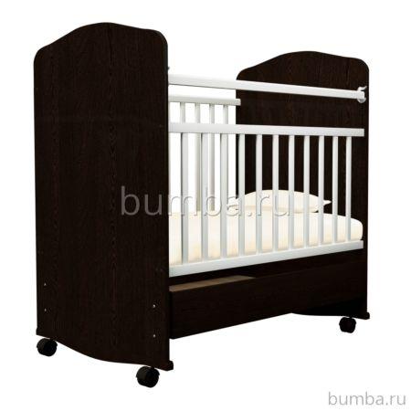 Кроватка-качалка Агат Золушка-9 с ящиком (Шоколад+Слоновая кость)