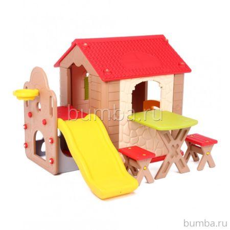 Игровой домик Haenim Toy HN-777 со столом, горкой и стульчиками
