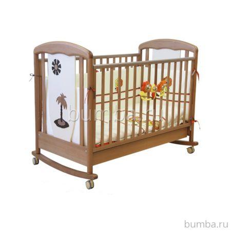 Кроватка детская Papaloni Vitalia (качалка-колесо) (Светлый орех/гоголь-моголь)