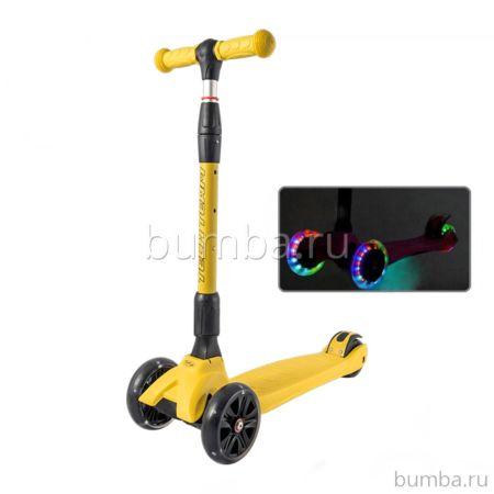 Самокат TechTeam Tiger Plus 2018 со светящимися колесами (желтый)