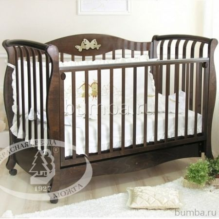 Кроватка детская Можга Елизавета С 553 (качалка-колесо) (шоколад)