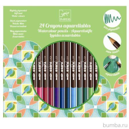 Набор карандашей Djeco акварель (24 штуки)
