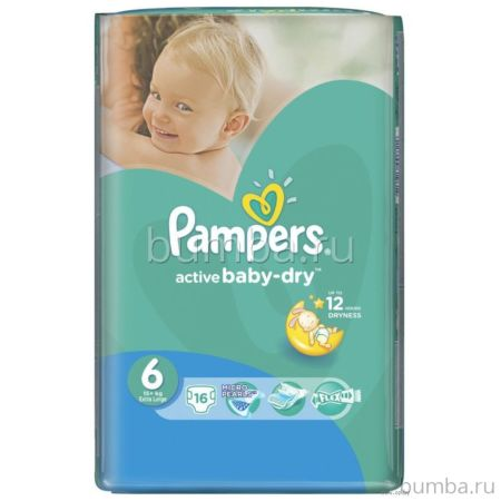 Подгузники Pampers Active Baby-Dry Extra Large (от 15 кг) 16 шт