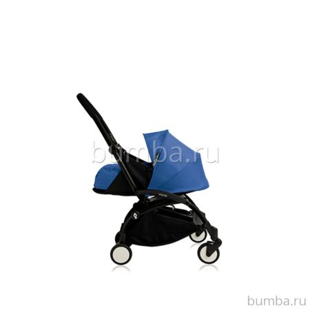 Коляска-люлька BABYZEN YoYo+ на чёрной раме (Голубой)