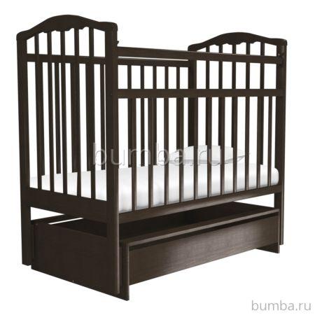 Кроватка детская Агат Золушка-4 (поперечный маятник) с ящиком (Шоколад)