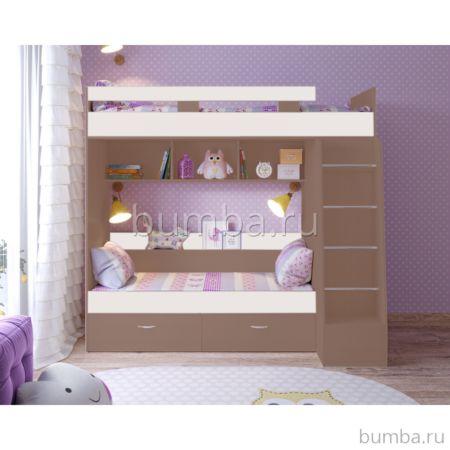 Кровать двухъярусная Ярофф Юниор-6 (бодего темный/белое дерево)