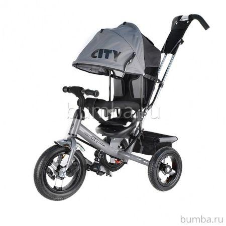 """Трехколесный велосипед City с надувными колесами 10"""" и 8"""" (серый) ДИСКОНТ"""