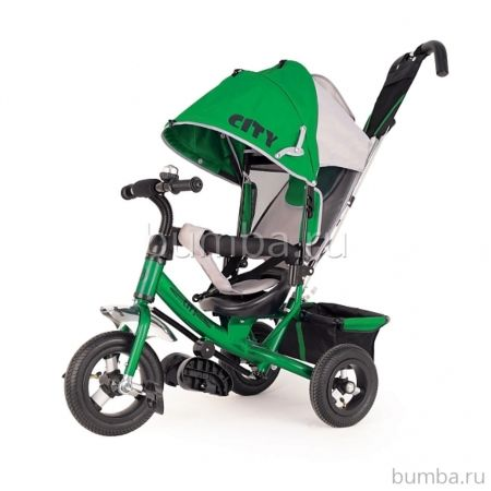 """Трехколесный велосипед City с надувными колесами 12"""" и 10"""" (зеленый) ДИСКОНТ"""