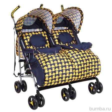 Коляска для двойни Bambola Клетка (желтая)