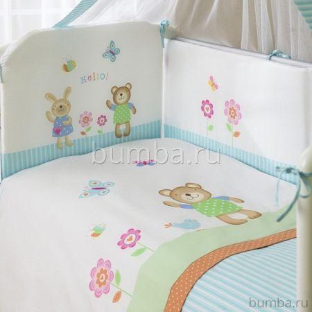Комплект постельного белья Perina Глория Hello (3 предмета, хлопок/сатин) (Голубой)