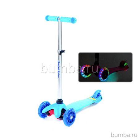 Самокат Sweet Baby Triplex Light Up со светящимися колесами Blue