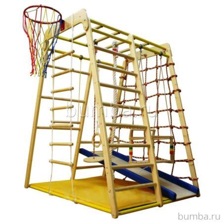Детский спортивный комплекс Вертикаль Веселый Малыш Wood с мягкой горкой