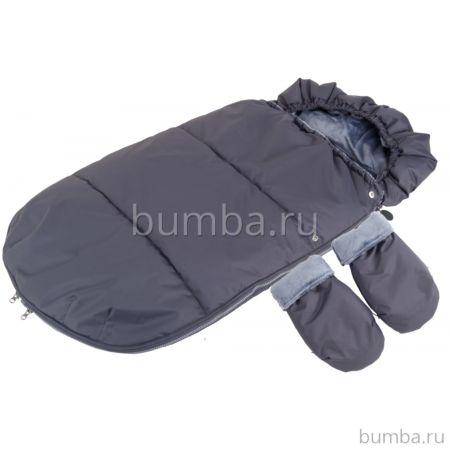 Конверт в коляску зимний Mammie с муфтой-рукавицами (серый)
