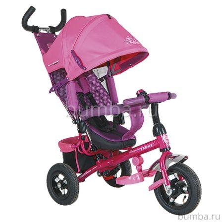 """Трехколесный велосипед TechTeam 952S-AT с надувными колесами 10"""" и 8"""" (розовый)"""
