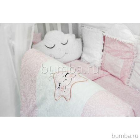 Комплект белья с бортиками-игрушками by Twinz (13 предметов, бязь) Звездочка розовая