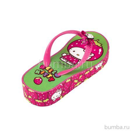 Шлепки детские Hello Kitty 5402A для девочек (фуксия/зеленый)