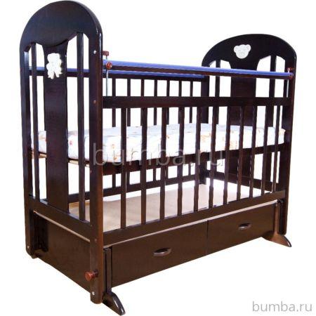 Кроватка детская Briciola 5 с поперечным маятником (темная)