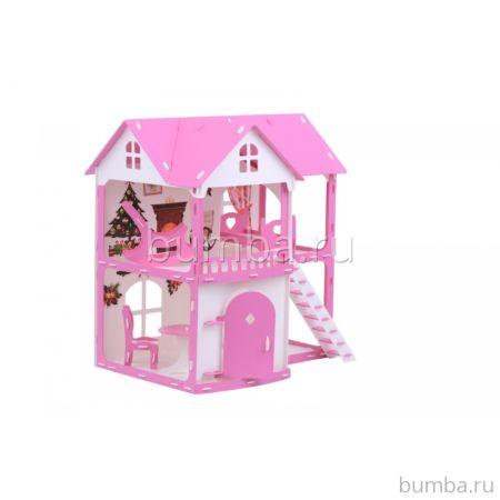 Домик для кукол R&C Светлана (бело-розовый)