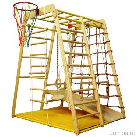 Детский спортивный комплекс Вертикаль Веселый Малыш Wood с фанерной горкой