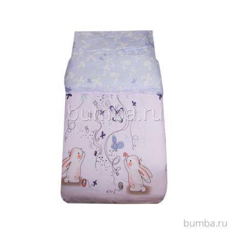 Комплект постельного белья Ifratti 110х140см (3 предмета, сатин, хлопок) Зайки с бабочками