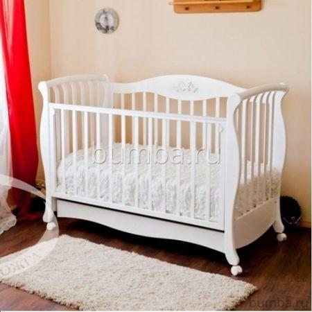 Кроватка детская Можга Елизавета С 553 (качалка-колесо) (белый)
