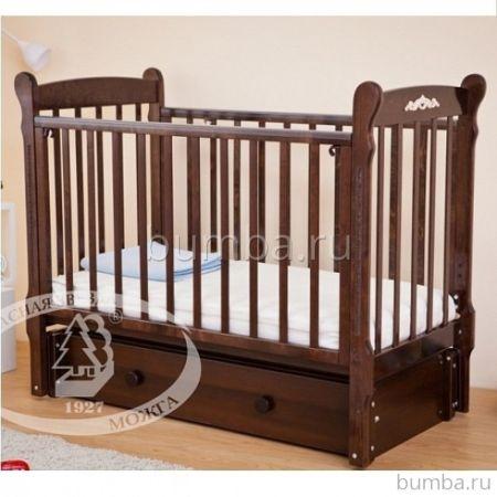 Кроватка детская Можга Артём С579 (продольный маятник) (шоколад)