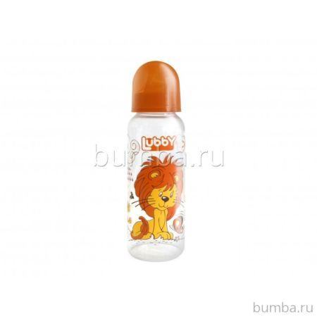 Бутылочка Lubby с соской Весёлые животные 250 мл (Оранжевый)