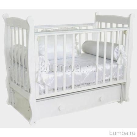 Кроватка детская Можга Елисей С 717 Паровозик (продольный маятник) (белый)