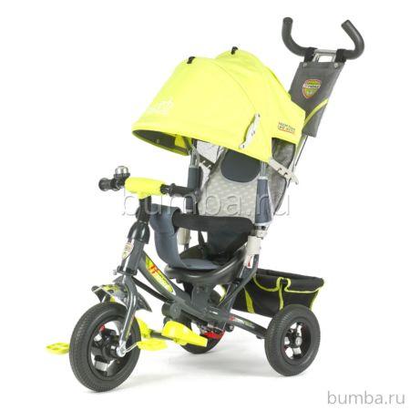 """Трехколесный велосипед TechTeam 950D-AT с надувными колесами 10"""" и 8"""" (салатовый)"""