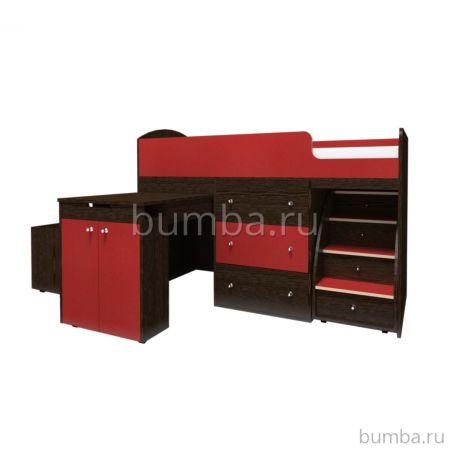 Кровать-чердак Ярофф Малыш Большой (венге/красный)