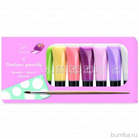 Краски Djeco Гуашь в тубах 8 пастельных цветов