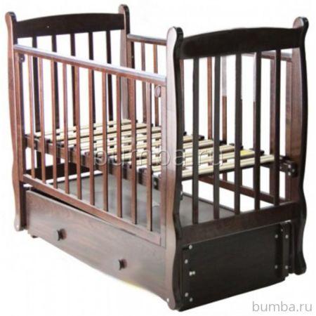 Кроватка детская Можга Елисей С 717 Паровозик (продольный маятник) (шоколад)