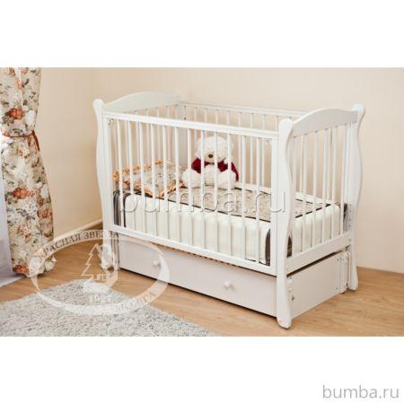 Кроватка детская Можга Уралочка С742 (продольный маятник) (белый)