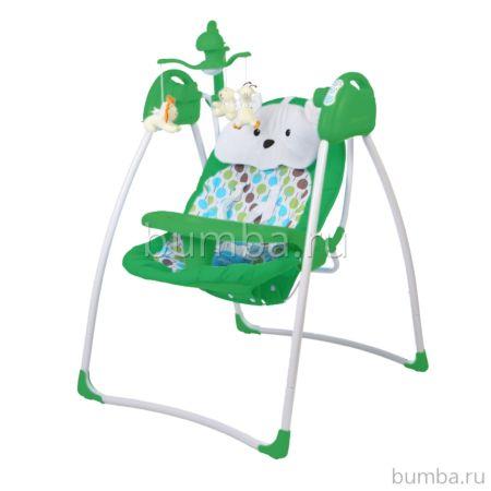 Электрокачели Baby Care Butterfly с адаптером (зеленый)