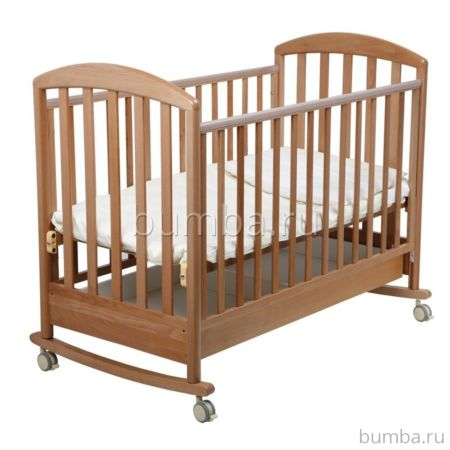 Кроватка детская Papaloni Джованни (качалка-колесо) (Орех светлый)