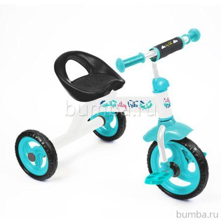 Трехколесный велосипед Ника Детям City trike СТ-13 с ПВХ-колесами (Белый)