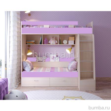 Кровать двухъярусная Ярофф Юниор-6 (дуб молочный/ирис)