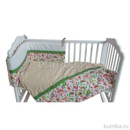 Комплект постельного белья Polini Кантри 120х60см (3 предмета, хлопок) (Зелёный)