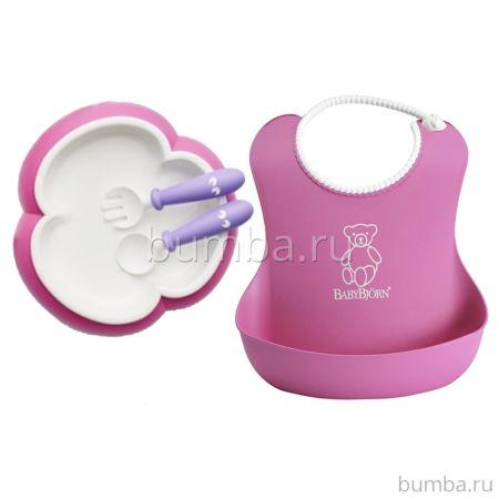 Набор для кормления Babybjorn (нагрудник, тарелка, ложка, вилка) pink/purple