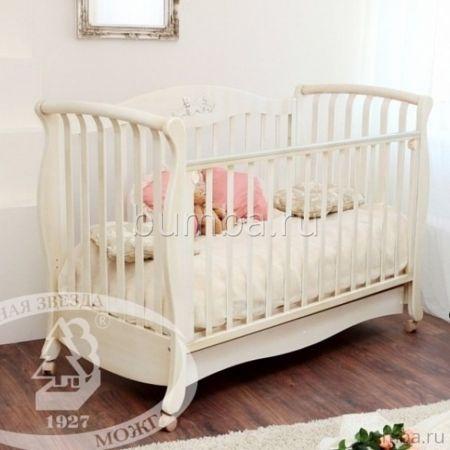 Кроватка детская Можга Елизавета С 553 (качалка-колесо) (слоновая кость)