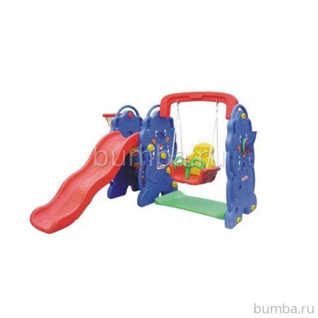 Горка детская QiaoQiao Toys Слон с баскетбольным кольцом и качелями
